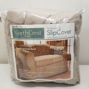 North Crest Slip Cover Suede Love Seat Sand